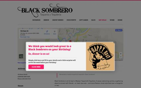 Screenshot of Contact Page blacksombrero.com.au - Say Hola! Ç  Black Sombrero Đ LismoreŐs Mexican Taquer'a & Tequileria - captured Jan. 6, 2016