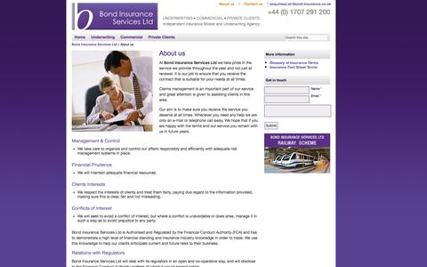 Screenshot of About Page bond-insurance.co.uk - About us | Claims management | Bond Insurance Services Ltd - captured Oct. 5, 2014