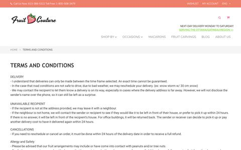 Screenshot of Terms Page fruitcouture.ca - Terms and conditions - Fruit Couture - captured June 6, 2017