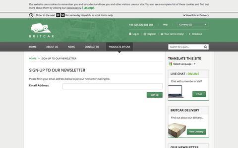 Screenshot of Signup Page brit-car.co.uk - Sign-up to Our Newsletter >Home > Britcar (UK) Ltd - captured Sept. 22, 2014