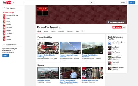Screenshot of YouTube Page youtube.com - Ferrara Fire Apparatus  - YouTube - captured Oct. 25, 2014