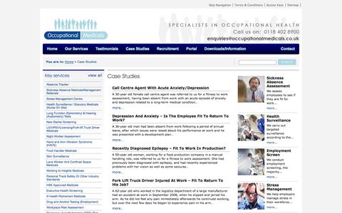 Screenshot of Case Studies Page occupationalmedicals.co.uk - Occupational Medicals | Case Studies | The Specialists In Occupational Health Services - captured Oct. 7, 2014