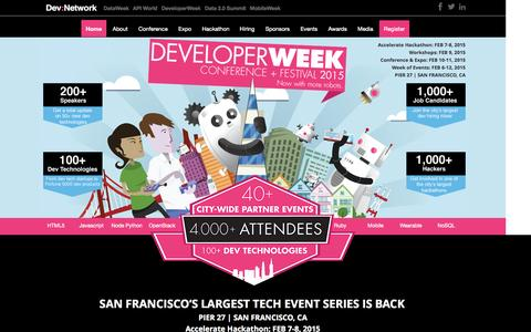 Screenshot of Home Page developerweek.com - DeveloperWeek 2015 - captured Jan. 27, 2015