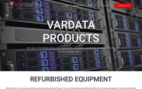 Screenshot of Products Page vardata.com - PRODUCTS – Vardata - captured Sept. 21, 2018