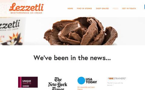 Screenshot of Press Page lezzetliicecream.com - We've been in the news... — Lezzetli Mediterranean Ice Cream - captured Nov. 7, 2016