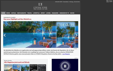 Screenshot of Home Page living-fine.de - .. LIVING FINE • Homepage - captured June 25, 2018