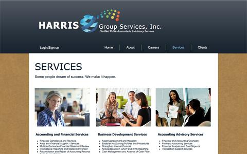 Screenshot of Services Page harrisgs.com - Harris Group Services - captured Oct. 27, 2016