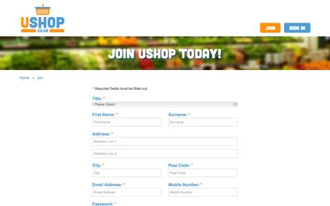 Screenshot of Signup Page ushop.co.uk - Join U Shop - Sign up and start shopping online - Click and Collect - captured Oct. 9, 2014