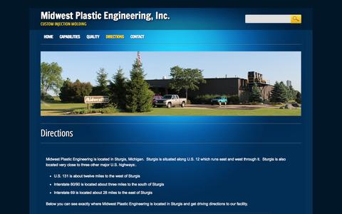 Screenshot of Maps & Directions Page midwestplastic.com - Midwest Plastic Engineering, Inc. | Directions - captured Oct. 9, 2014