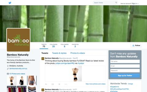Screenshot of Twitter Page twitter.com - Bamboo Naturally (@bamboonaturally) | Twitter - captured Oct. 23, 2014