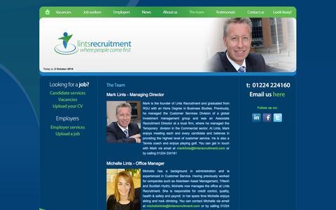 Screenshot of Team Page lintsrecruitment.com - The Team - Lints Recruitment Ltd - Aberdeen Recruitment Agency - captured Oct. 2, 2014