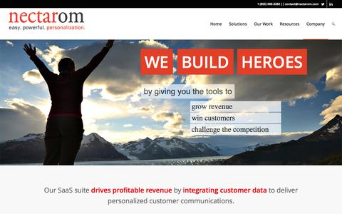Screenshot of Home Page Contact Page nectarom.com - nectarOM: The Easiest Marketing Personalization Platform - captured Sept. 12, 2014