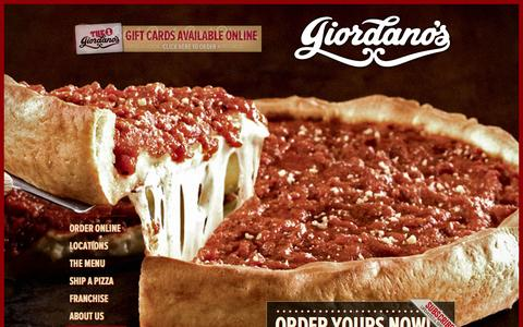 Screenshot of Home Page giordanos.com - Giordano's   Best Chicago Style Deep Dish Pizza & Italian Restaurant - captured June 18, 2015