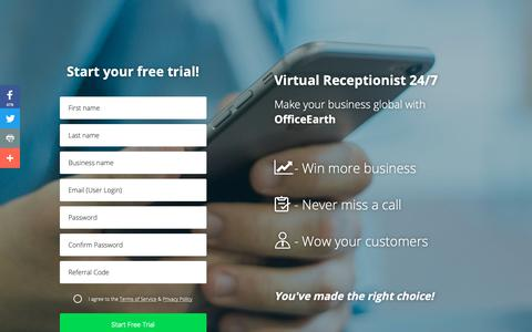 Screenshot of Trial Page officeearth.com - Register for Virtual Receptionist - Free Trial | OfficeEarth - captured Oct. 22, 2018