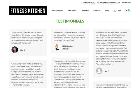 Screenshot of Testimonials Page fitnesskitchenla.com - Testimonials From Happy Healthy Clients - Fitness Kitchen LA - captured Nov. 14, 2018