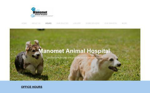 Screenshot of Hours Page manometvet.com - HOURS - Manomet Animal Hospital - captured July 7, 2017
