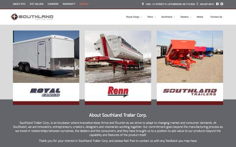 Screenshot of Home Page southlandtrailers.com - Home - Southland Trailers - captured Dec. 15, 2016