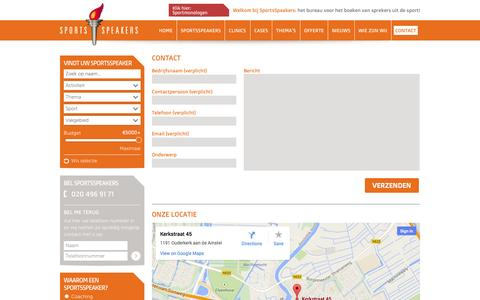 Screenshot of Contact Page sportsspeakers.nl - Contact | SportsSpeakers - captured Sept. 30, 2014
