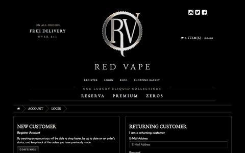 Screenshot of Login Page redvape.com - Account Login - captured June 21, 2017