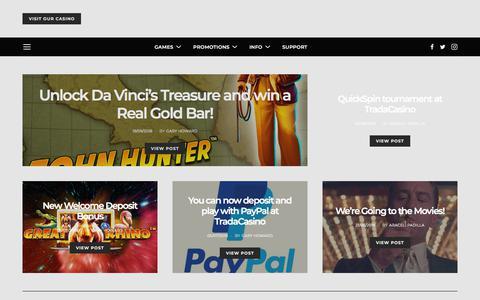 Screenshot of Blog tradacasino.com - TradaCasino blog – Casino games, bonuses and news from the fun ,fast and Fair online casino - captured Sept. 21, 2018