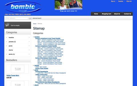 Screenshot of Site Map Page bombiewear.com - Bombie Wear :: Sitemap - captured Oct. 29, 2014
