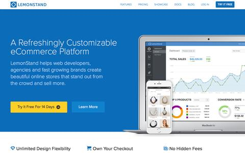 Screenshot of Home Page Login Page lemonstand.com - The Best Cloud eCommerce Platform for Developers, Agencies and Fast Growing Stores | LemonStand - captured June 2, 2016
