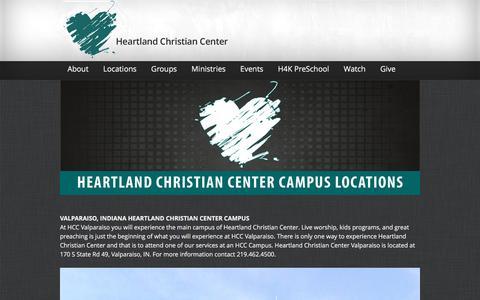 Screenshot of Locations Page hcc3d.com - Campus Locations - Heartland Christian CenterHeartland Christian Center - captured Jan. 28, 2016