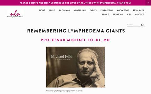 Screenshot of Team Page lymphnet.org - In Memory — National Lymphedema Network - captured Nov. 19, 2018