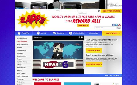 Screenshot of Home Page slappzz.com - World's Premier Site for FREE Apps & Games that REWARD ALL - captured Oct. 7, 2014