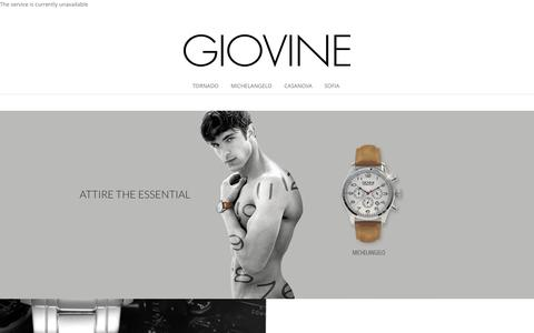Screenshot of Home Page giovine.net - Giovine Watches | Your Italian Time - captured Dec. 6, 2015