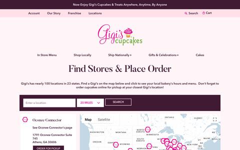 Screenshot of Locations Page gigiscupcakesusa.com - Stores & Local Pickup | Gigi's Cupcakes | Enjoy Anywhere, Anytime, Anyplace - captured Sept. 24, 2018