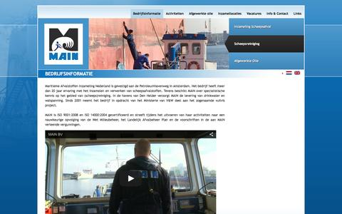 Screenshot of Home Page main-bv.nl - Maritieme Afval Inzameling Nederland (MAIN) B.V.: Bedrijfsinformatie - captured Feb. 3, 2016