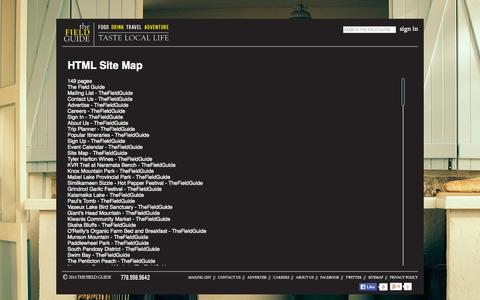 Screenshot of Site Map Page thefieldguide.ca - Site Map | The Field Guide - captured Oct. 26, 2014