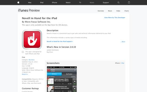Novell in Hand for the iPad on the App Store