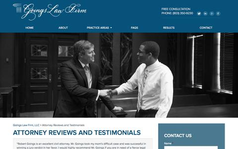 Screenshot of Testimonials Page goingslawfirm.com - Attorney Reviews and Testimonials, Client Reviews | Goings Law Firm, LLC - captured Sept. 30, 2014