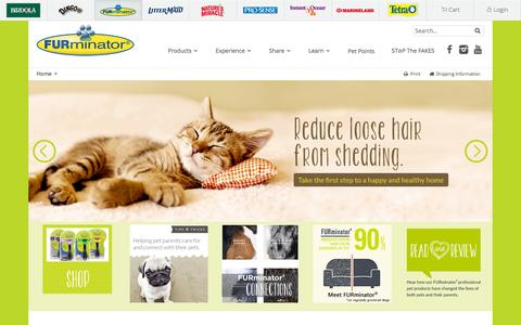 Screenshot of Home Page furminator.com - Shop Pet Grooming Cleaning & De-Shedding Supplies Online | FURminator® - captured Oct. 29, 2015