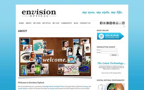 Screenshot of About Page envisionoptical.com.au - Burleigh Heads, Burleigh Waters, Nerang, Tweed Optometrists | Envision Optical - captured Sept. 30, 2014