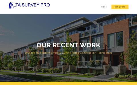 Screenshot of Contact Page altasurveypro.com - Work – Alta Survey Pro - captured July 28, 2018