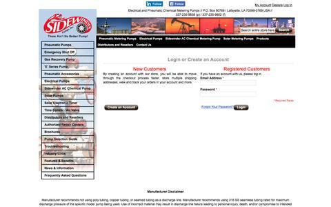 Screenshot of Login Page sidewinderpumps.com - Customer Login - captured Nov. 29, 2016