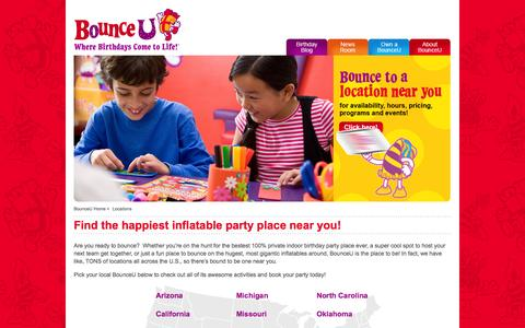 Screenshot of Locations Page bounceu.com - Locations - captured Oct. 29, 2014
