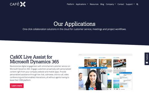 Screenshot of Products Page cafex.com - Remote Live Assistance and Online Video Conferencing | CafeX - captured Nov. 3, 2018