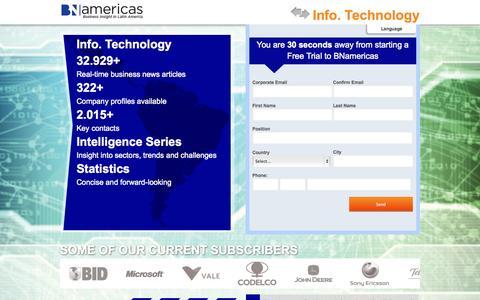 Screenshot of Trial Page bnamericas.com - Take a Free Trial BNamericas | Latin America's Business News - captured Nov. 2, 2014