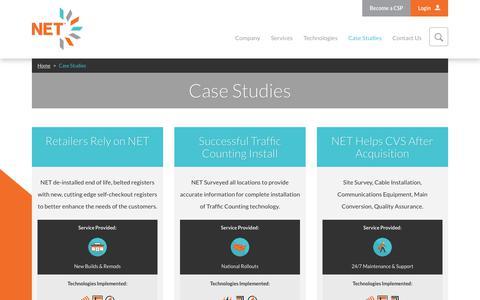 Screenshot of Case Studies Page nettechnology.com - Case Studies » NET - captured Oct. 20, 2017