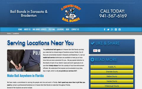Screenshot of Locations Page aheavensentbailbonds.com - Locations   A Heaven Sent Bail Bonds   Bondsman - captured Jan. 26, 2016