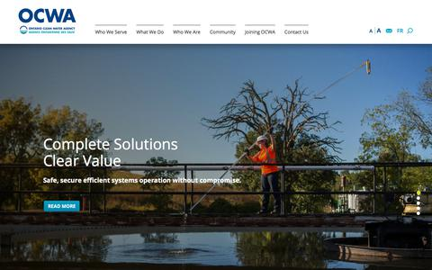 Screenshot of Home Page ocwa.com - Home   Ontario Clean Water Agency - captured Nov. 4, 2017