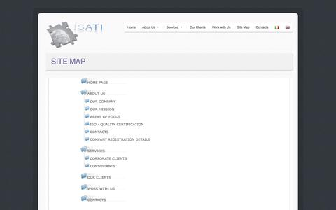 Screenshot of Site Map Page isati-srl.com - ISATI - International Solutions for the Aeronautical and Telecommunications Industries - captured Sept. 30, 2014