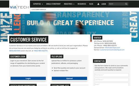 Screenshot of Support Page viatechpub.com - Customer Service and Testimonials - captured Oct. 7, 2014