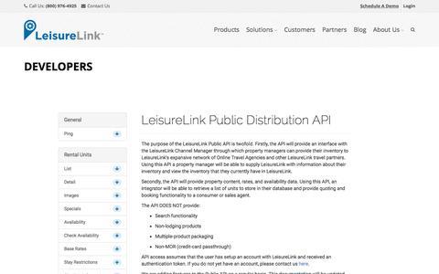 Screenshot of Developers Page leisurelink.com - Developers - LeisureLink.com - captured Dec. 4, 2015