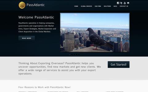 Screenshot of Home Page passatlantic.com - PassAtlantic | Your Export Partner NY - captured Sept. 29, 2014