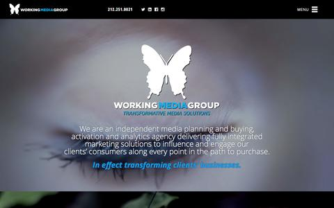 Screenshot of Home Page workingmediagroup.com - Working Media Group | Transformative Media Solutions - captured Jan. 12, 2016